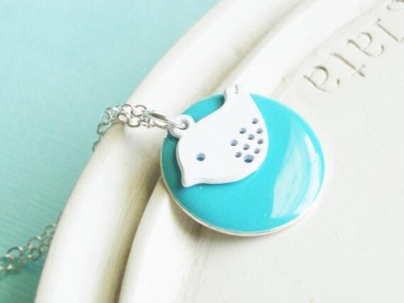 Bird Necklace - Summer Birdie Aqua and White