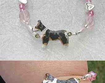 WELSH CORGI Tri-color Handpainted Clay Bracelet Pink Glass/Metal Heart Spacer Beads