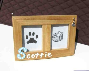 Final Markdown Sale...SCOTTIE Dog Breed Wood Desktop Double Photo Frame w/Pawprint Charm