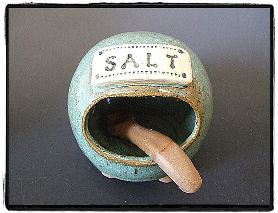 Cute Turquoise Salt Pig-Salt Cellar with Matching Spoon by misunrie
