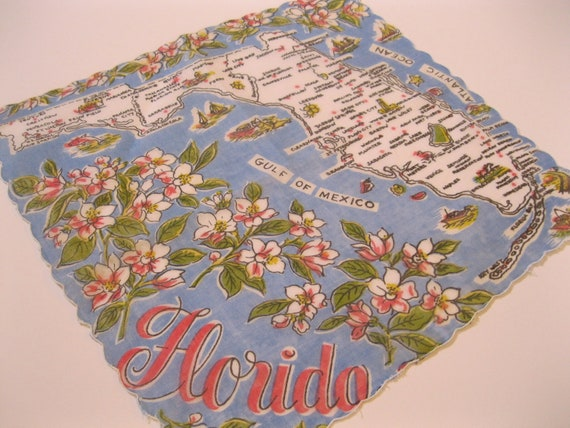 Vintage 1960s Florida souvenir handkerchief hankie with orange blossoms