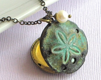 Sand Dollar Locket Necklace - Verdigris Brass