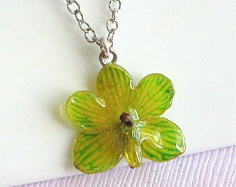 Tiny Green Orchid Necklace - Real Flower Jewelry, Green, Mini,  Sterling Silver