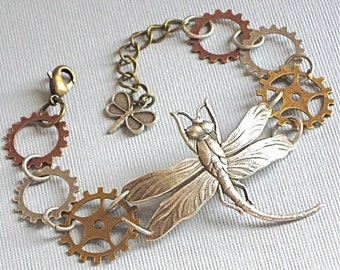 Dragonfly Gear Bracelet - Steampunk  Jewelry, Silver, Mixed Metal, Nature Jewelry