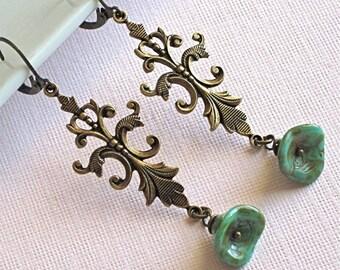 Turquoise Flower Victorian Earrings - Antiqued Brass, Czech Glass