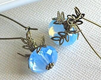 Blue Earrings - Opal Czech Glass, Brass