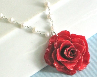 Real Rose Pearl Necklace - Red, Sterling Silver, Flower Jewelry