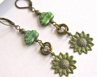 Sunflower Earrings, Yellow Patina Brass, Czech Glass Leaf, Long