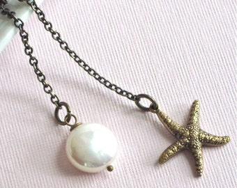 Starfish Lariat Necklace - Brass, Pearl, Ocean Jewelry, Beach Necklace
