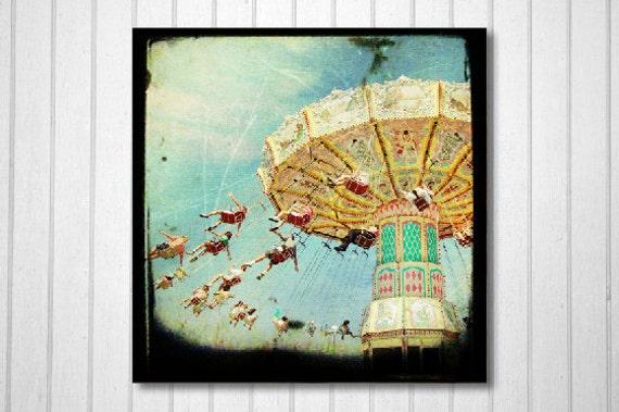 Carnival, Summer, Swing, TTV, Wall Decor, Kids Room, Nursery, Blue, Yellow - Carnival Swing -Fine Art Print-  Cyber Monday