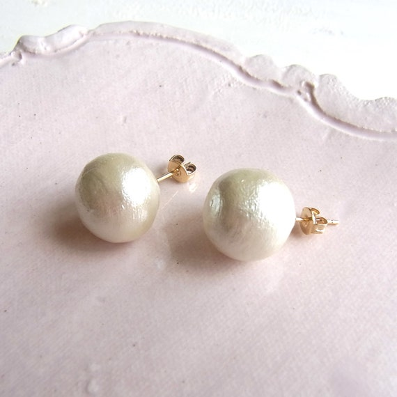 Large Cotton Pearl Earrings