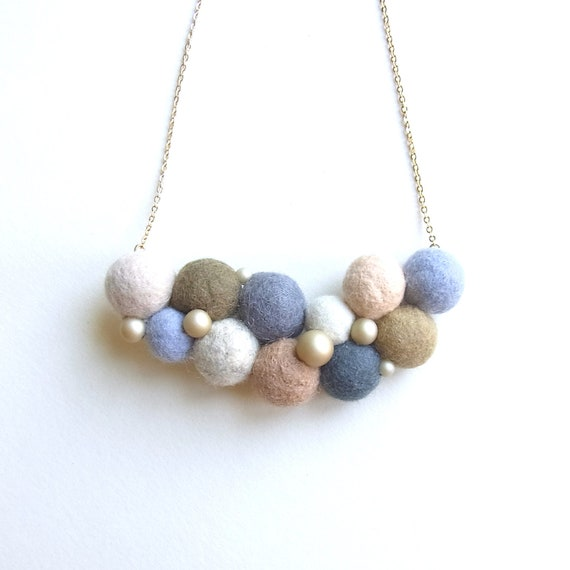 R's Felt Ball Necklace - E