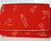 Retro Girl Boy and Puppy Sienna Clutch - thetinybird