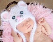 ORIGNIAL Baby Mouse Hat & Diaper Cover Newborn 3m 6m Crochet White Fuzzy Photo Prop Baby boy girl Gender Neutral HALLOWEEN Costume CHRISTMAS