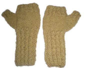 Mittens - Hand Knit Women's Tan Fingerless Mittens