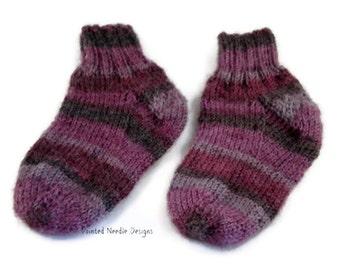 Baby Socks - Burgundy Striped Baby Socks