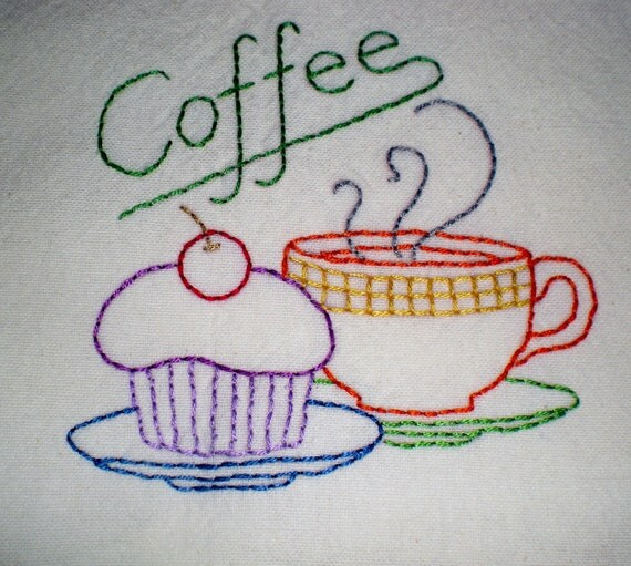 Coffee Embroidered Dish Towel