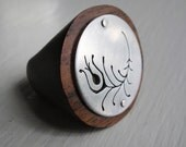 Peacock Feather Cutout  Wood Ring  -- Modern Woods