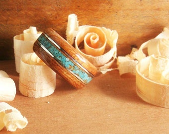 Bentwood Ring  Brazilian Cherry with Turquoise and Sterling Silver Inlay