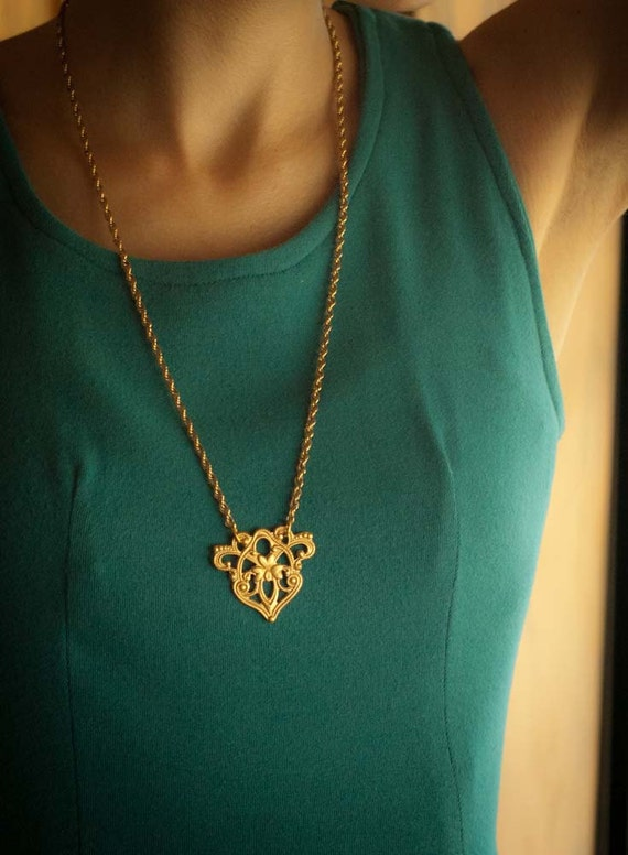 Long Statement Necklace - Delicate Gold Chain - Art Deco
