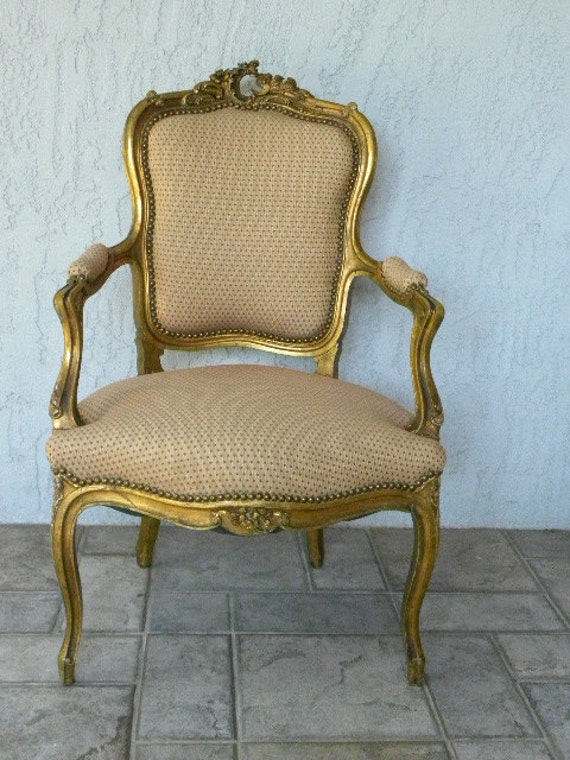 RESERVED FOR DALTON -  Vintage Gilt French Style Upholstered Arm Chair Hollywood Regency Glam