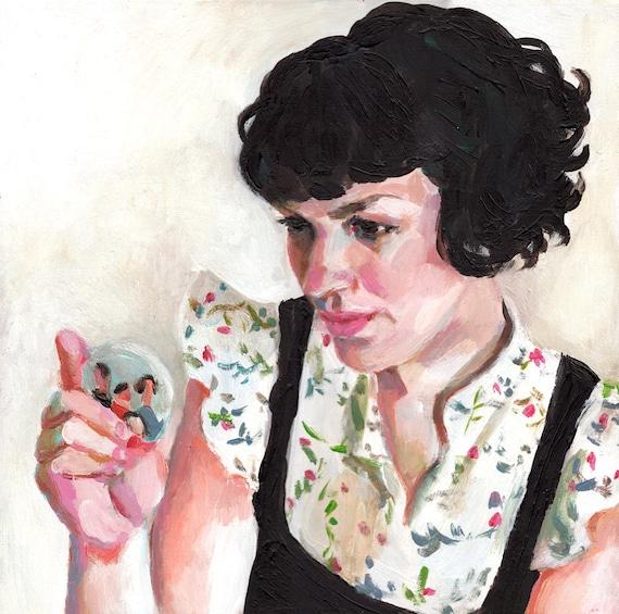 Pocket Mirror / Jenny / original acrylic painting / woman illustration