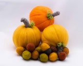 Thanksgiving Pumpkins Donation 100 Percent Needle Felted Pumpkin Wool Trio and Acorns 1