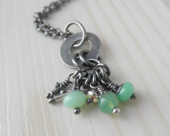 Sterling Silver Pendant. Whimsical necklace with light green chrysoprace stone pebbles, knots & pieces -Wild line-