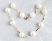 Vintage Faux Pearl Gold Bar Necklace Beaded Wedding Formal
