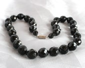 Black Lead Crystal Necklace Vintage 1950s Hand Knotted Silk Faceted Crystals Elegant Classic Mad Men