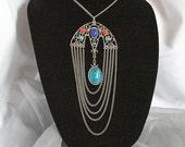 Art Deco Bib Necklace Vintage Chandelier Draped Chains Pendant Faux Turquoise Coral Lapis