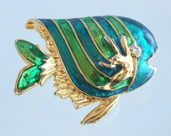 Tropical Fish Brooch Vintage Enamel Blue Green Stripe Fish Figural Pin