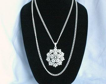 Vintage Big White Flower Necklace Trifari Draped Bib Multi Chains Openwork Enamel Metal Pendant