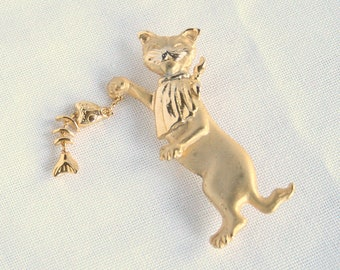 Cat Holding Fish Brooch Vintage Pin Buffed Gold Finish Playful Kitty with Fish Figural