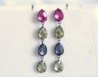 Rhinestone Teardrop Earrings Vintage Multicolor Pierced Long Colorful Shoulder Brushing Black Japanned