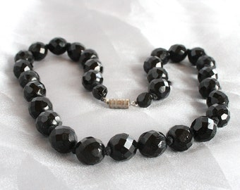 Black 1950s Crystal Necklace Vintage Hand Knotted Silk Faceted Black Lead Crystal Elegant Classic Mad Men