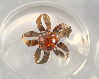 Amber Ribbon Brooch Vintage Sweet Feminine Curving Ribbon Flower Pin