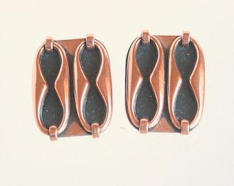 Renoir Matisse Copper Earrings Vintage Modernist Black Enamel Retro Clip on Figure 8