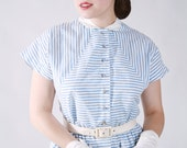 Vintage 1950s Dress - Blue and White Striped Cotton Day Dress