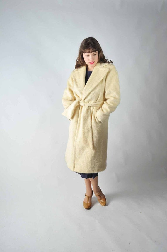 Vintage 1950s Coat // The Hold Me Close Ivory Winter Wrap Coat with Satin Lining