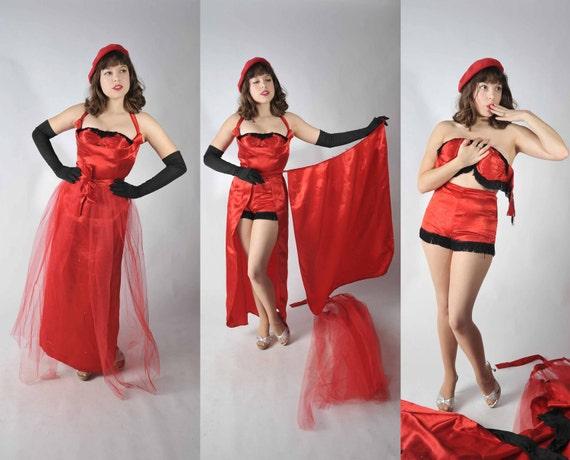 BLACK FRIDAY SALE - Vintage 1950s Burlesque Set  - Rare Six Piece Red Fringed Peeler Burlesque Set