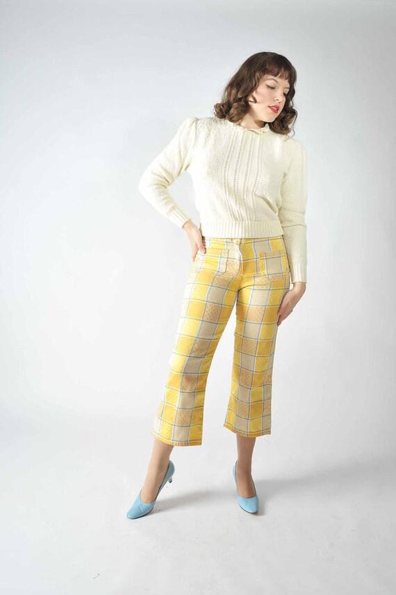Vintage 1960s Pants // Patchwork Print Capri Pants