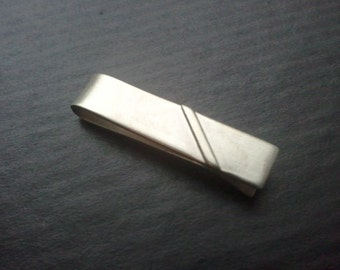 thicker tie bar - retro stripe - Sterling Silver