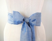 Silk Sash in Light Blue Shantung Silk Vintage Fabric by ccdoodle on etsy - longer length - made to order - limited