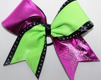 HOT Pink and Green Metallic rhinestone Cheerleading Allstar Bow