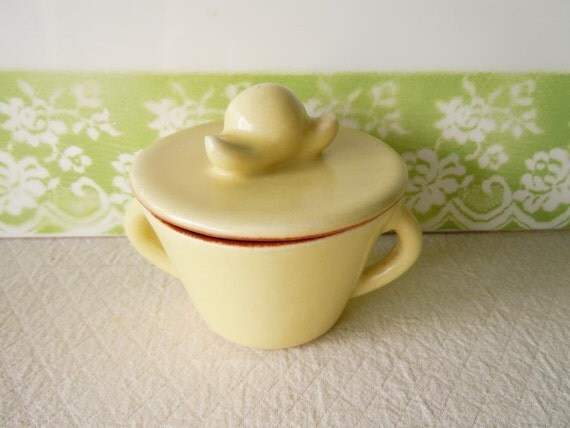 Vintage 1950s Covered Sugar Bowl Winfield China Yellow Home Decor Housewarming Gift