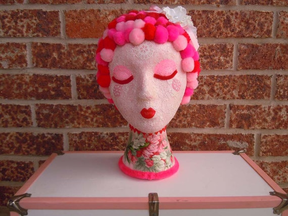 Mannequin Art Head Display Pink Cotton Candy Kisses