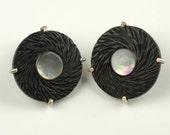 Carved Ebony Wood earrings - Ebony and Pearl earrings - Round post ebony earrings