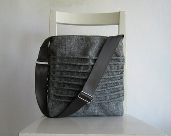 Grey/ Gray Canvas pleated Bag