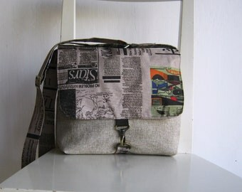 Natural color Canvas Satchel with an Art Newspaper Flap
